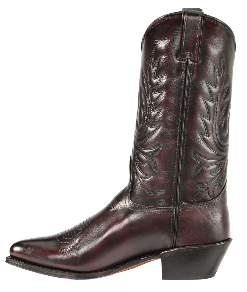 Abilene Black Cherry Polished Cowhide Boots - Medium Toe, Black Cherry, hi-res