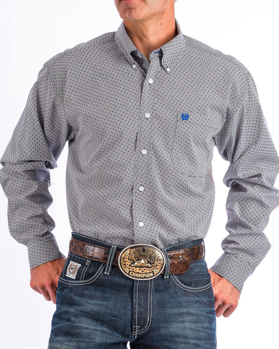 Cinch Men's Grey Rectangular Print Western Shirt , White, hi-res