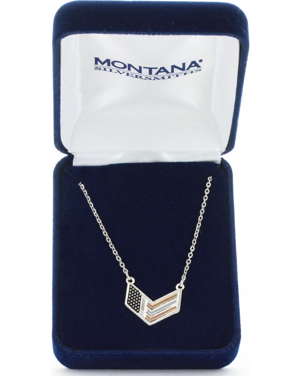 Montana Silversmiths Women's Patriotic Chevron Flag Necklace, No Color, hi-res