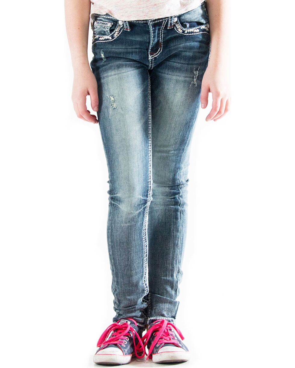 Grace in LA Girls' (7-16) Embellished Pocket Jeans - Skinny , Indigo, hi-res