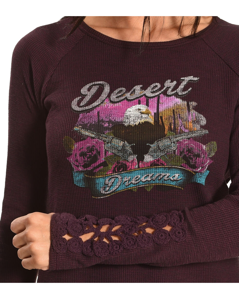 Shyanne Women's Desert Pistols Thermal Long Sleeve Shirt, Purple, hi-res