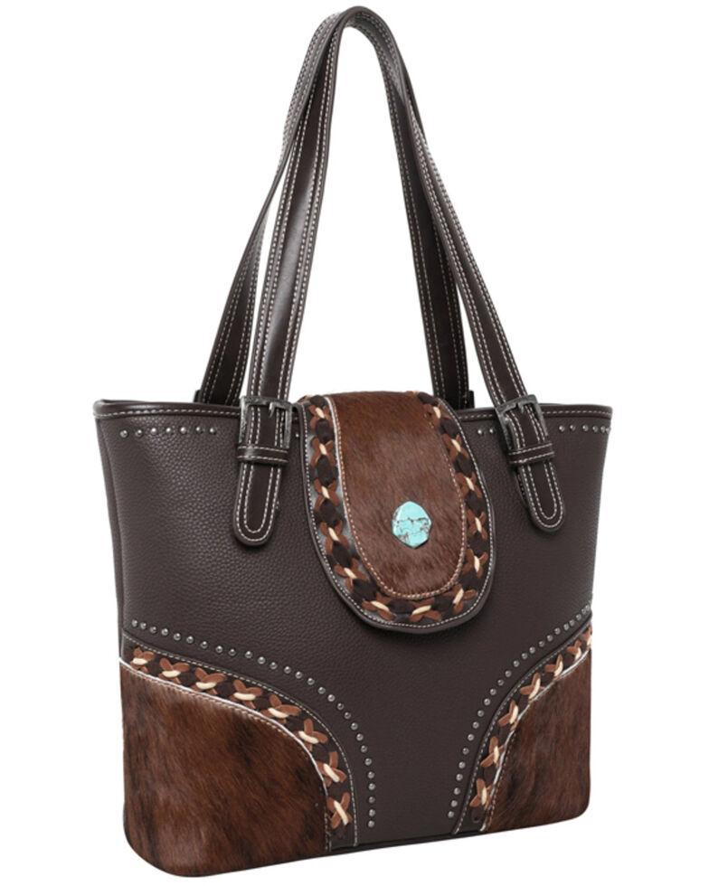 Montana West Women's Cowhide Tote Bag, Dark Brown, hi-res
