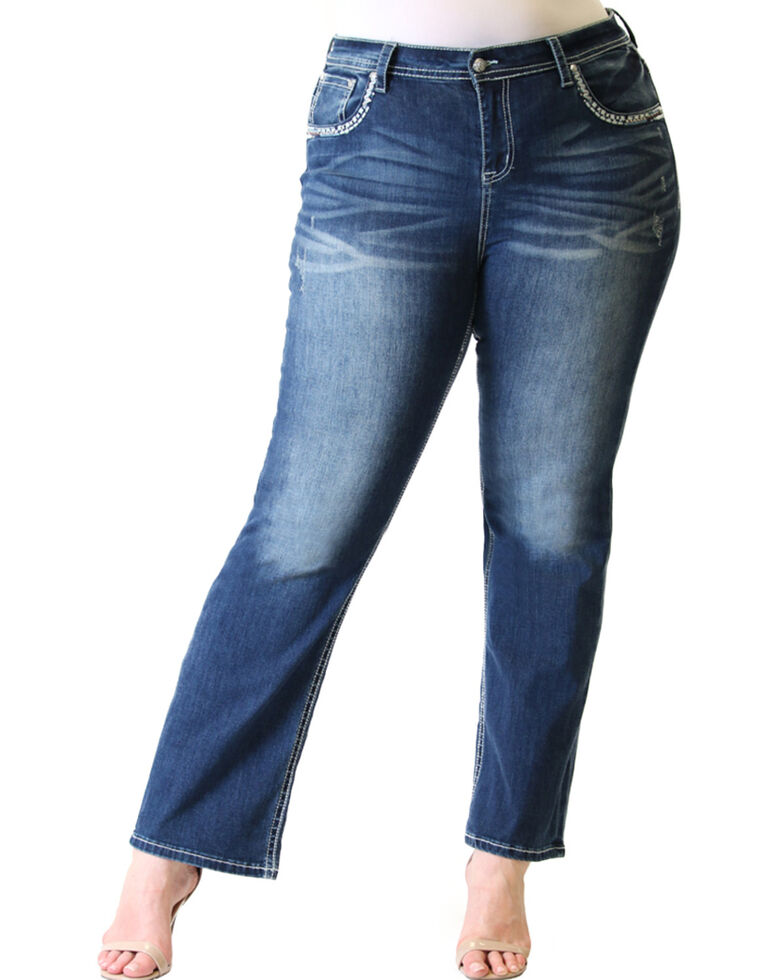 Grace in LA Women's Aztec Pocket Straight Jeans  - Plus, Blue, hi-res