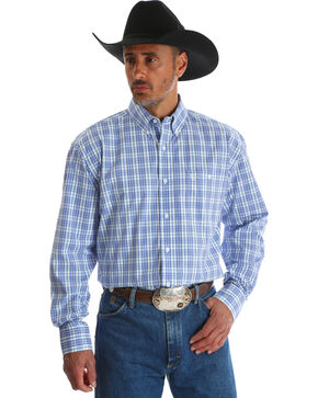 Wrangler George Strait Men's Blue Plaid Button Down Shirt, Blue, hi-res