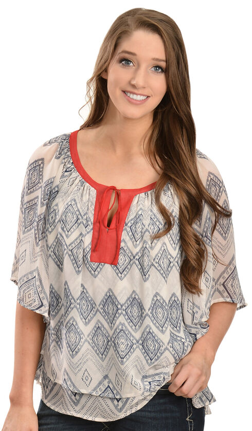 Ariat Women's Lucinda Printed Poly Chiffon Tunic, Multi, hi-res