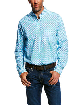Ariat Men's Moran Geo Print Long Sleeve Western Shirt , White, hi-res