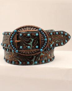 M & F Western Women's Brown & Turquoise Embossed Belt, Brown, hi-res
