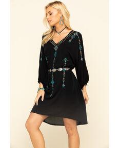 Wrangler Women's Black Embroidered Long Sleeve Hi-Low Dress, Black, hi-res