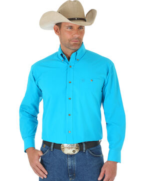 Wrangler George Strait Men's Turquoise Long Sleeve Shirt - Tall, Turquoise, hi-res