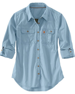 Carhartt Women's Force Ridgefield Shirt , Light Blue, hi-res