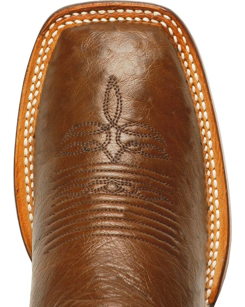 """Justin Women's 13"""" Marfa Smooth Ostrich Cowgirl Boots - Square Toe, Antique Brown, hi-res"""