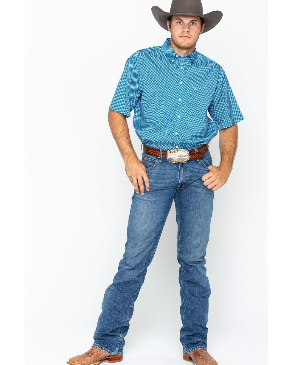 Cinch Men's Blue Athletic Print Short Sleeve Shirt , Blue, hi-res