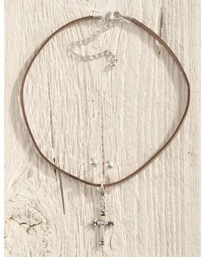 Shyanne Women's Leather Choker Silver Cross Jewelry Set, Brown, hi-res