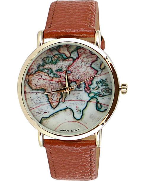 Shyanne Women's World Map Watch, Brown, hi-res