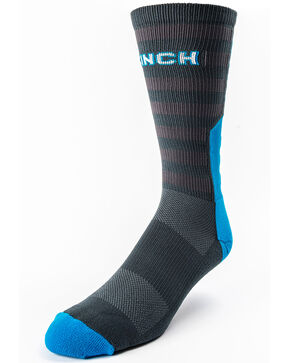 Cinch Men's Star Pattern Performance Crew Socks, Charcoal, hi-res