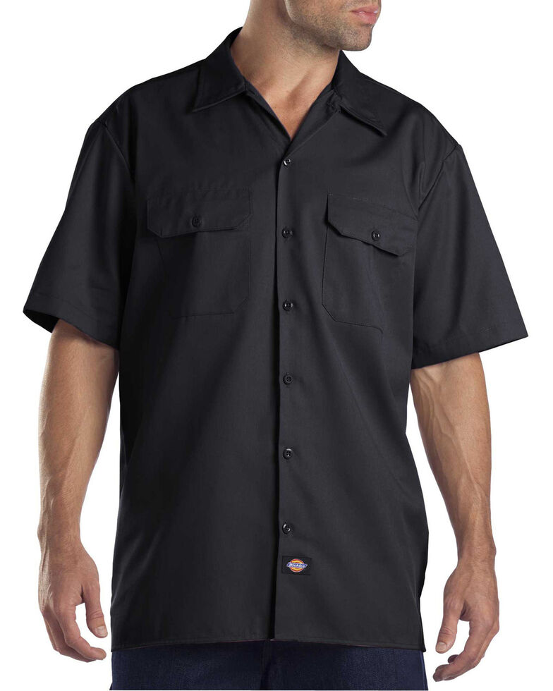 Dickies Men's Solid Short Sleeve Folded Work Shirt, Black, hi-res