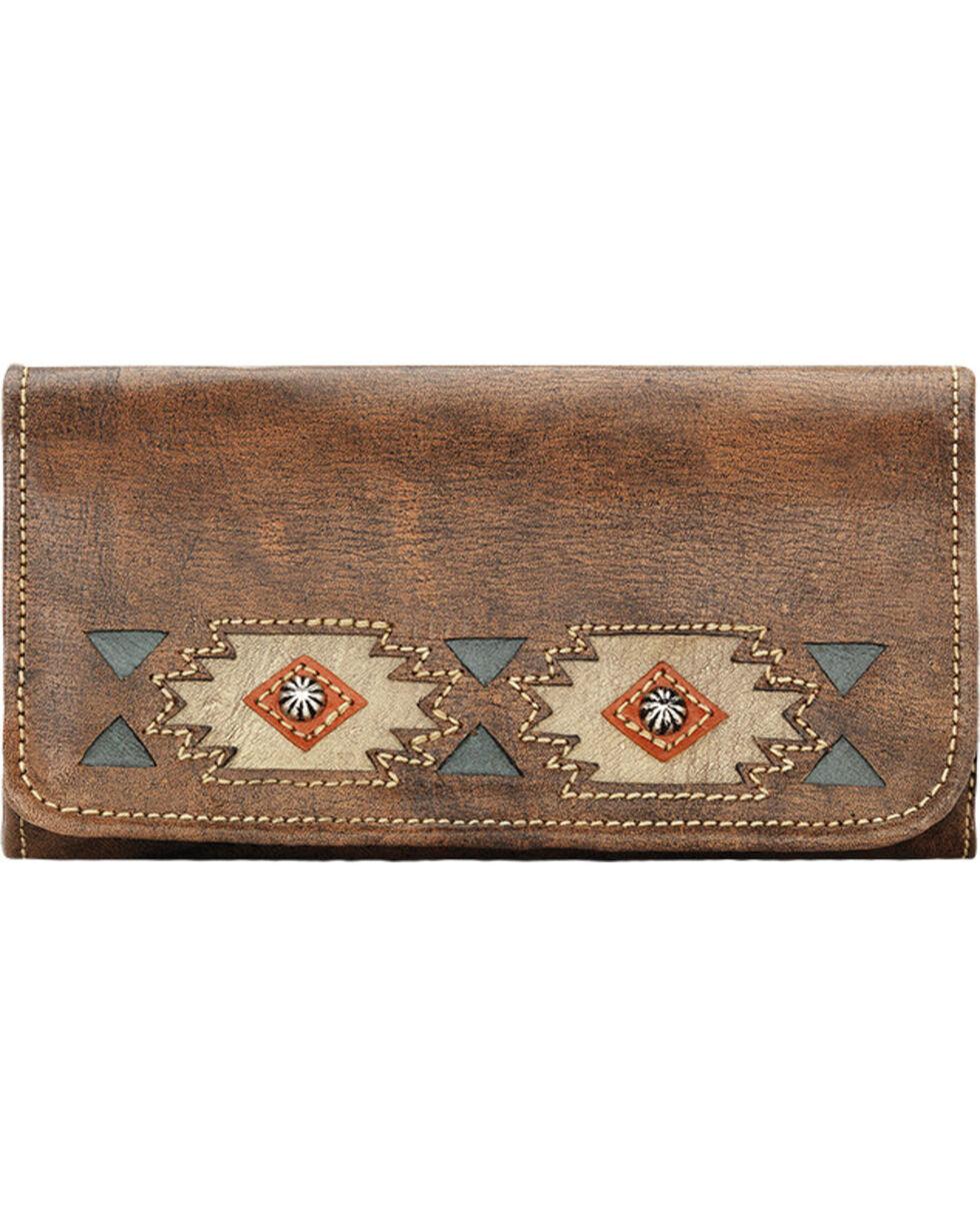 American West Women's Brown Native Sun Tri-Fold Wallet , Brown, hi-res