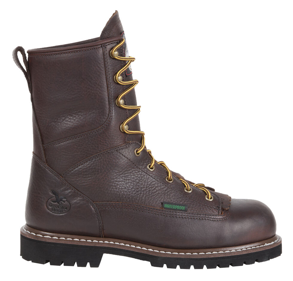 Georgia Low Heel Waterproof Logger Work Boots - Steel Toe, Chocolate, hi-res
