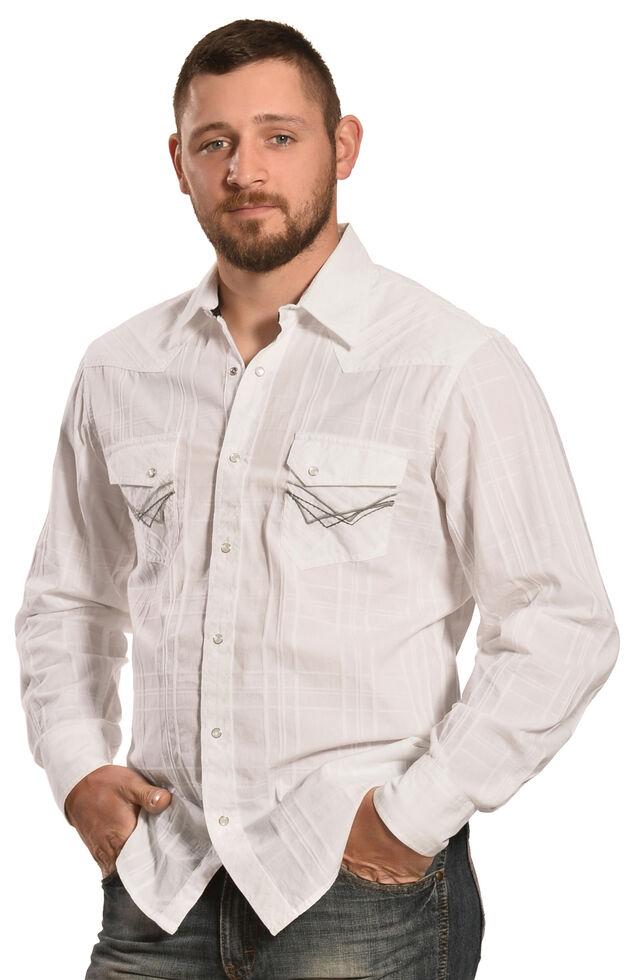 Ely 1878 Men's White Windowpane Dobby Western Shirt , White, hi-res