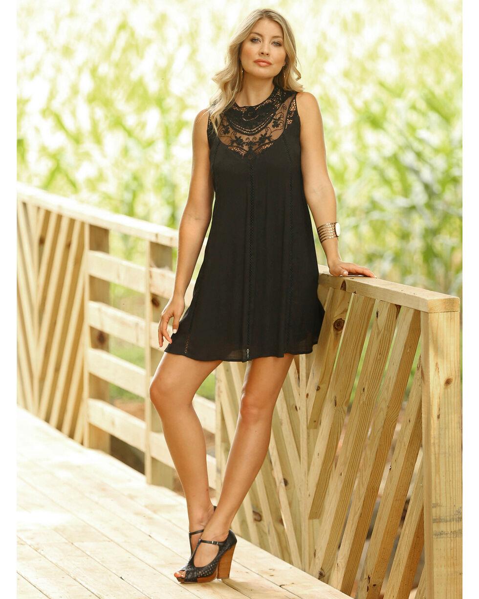 Wrangler Women's Black Lace Swing Dress, Black, hi-res