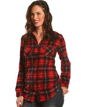 Derek Heart Women's Fergies Plaid Flannel Shirt , Black, hi-res