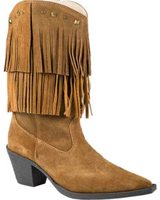 Roper Tan Suede Fringe Cowgirl Boots - Pointed Toe, Tan, hi-res