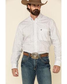 Rock & Roll Denim Men's White Geo Print Long Sleeve Western Shirt , White, hi-res
