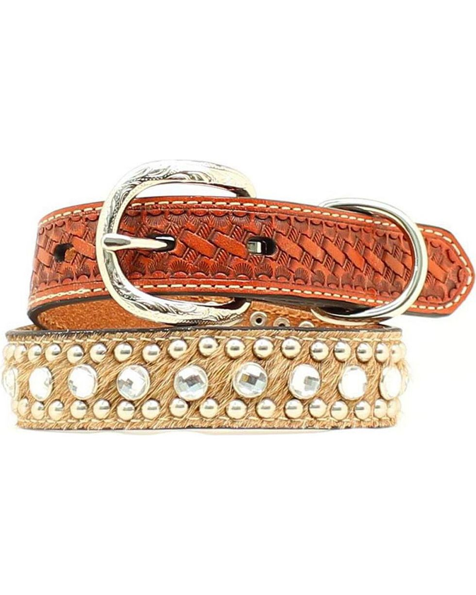 Double Barrel Embellished Basketweave & Hair-on-Hide Dog Collar - XS-XL, Tan, hi-res
