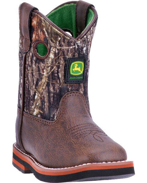 John Deere Toddler Boys' Pull On Rubber Outsole Boots - Broad Square Toe , Brown, hi-res