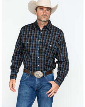 Wrangler Men's Wrinkle Resist Med Plaid Long Sleeve Western Shirt - Tall , , hi-res