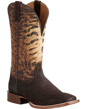 Ariat Men's Circuit Stride Tiger Print Boots - Square Toe , Tan, hi-res