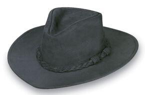 Minnetonka Leather Outback Hat, Black, hi-res