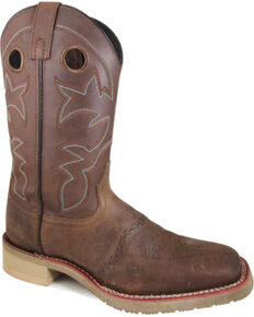 Smoky Mountain Men's Landon Brown Oil Distressed Cowboy Boots - Square Toe, Brown, hi-res