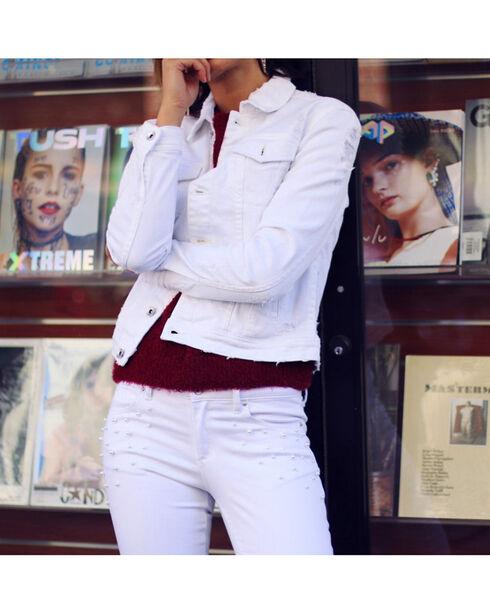 Tractr Blu Women's White Minor Destruction Denim Jacket , White, hi-res
