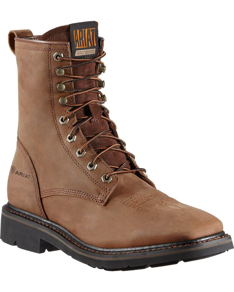 """Ariat Cascade 8"""" Lace-Up Work Boots - Square Toe, Brown, hi-res"""