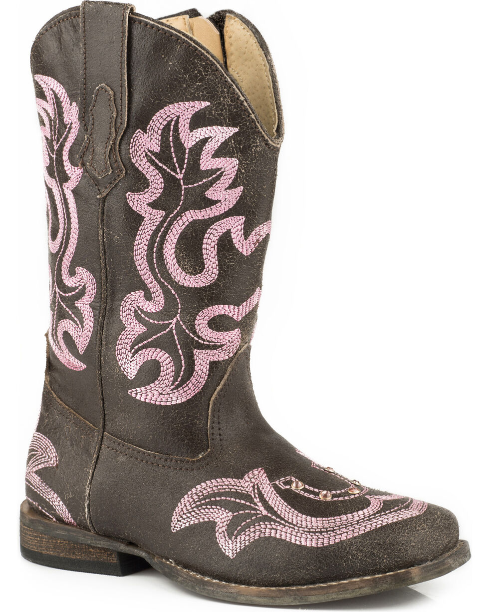 Roper Toddler Girls' Rhinestone Horseshoe Cowgirl Boots - Square Toe, Brown, hi-res