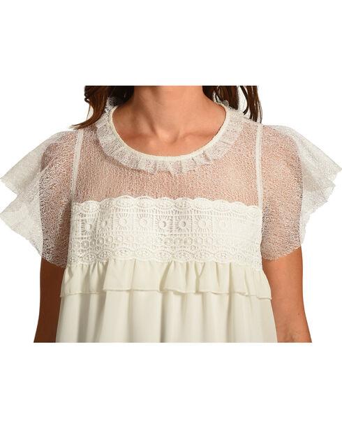 Polagram Women's White Lace Yoke Ruffle Top , White, hi-res