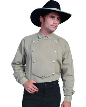 WahMaker Old West by Scully Brushed Twill Bib Shirt - Big & Tall, Tan, hi-res