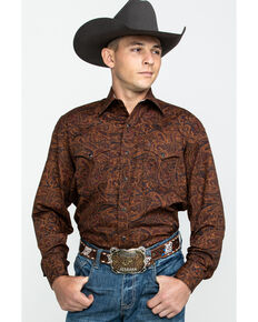 Stetson Men's Saddle Paisley Print Long Sleeve Western Shirt , Brown, hi-res