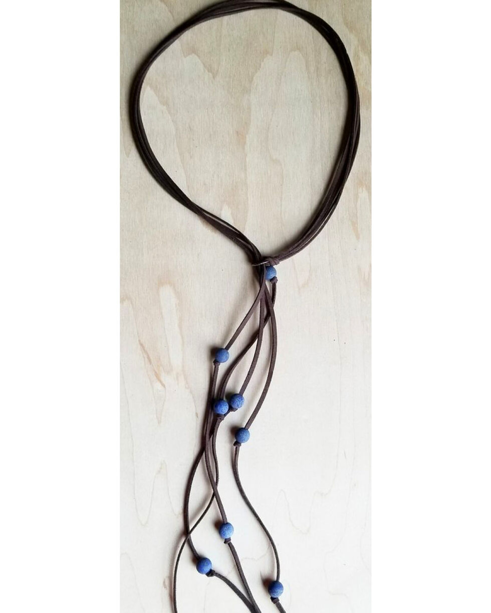 Jewelry Junkie Women's Blue Frosted Lapis Lasso Necklace , Blue, hi-res