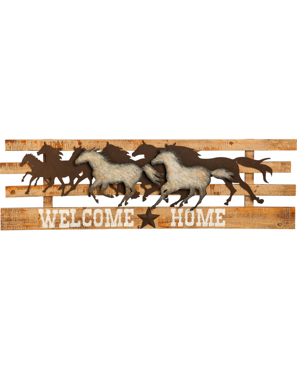 Evergreen Galloping Horse Welcome Home Sign , Tan, hi-res