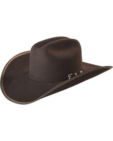 Justin Bent Rail Men's Chocolate 7X Hooked 2 Felt Cowboy Hat, Chocolate, hi-res