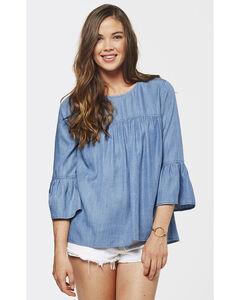 Glam Women's Potassium Slub Ruffle Shirt , Blue, hi-res