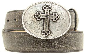 Nocona Distressed Cracked Leather Belt with Fancy Cross Oval Buckle, Black, hi-res