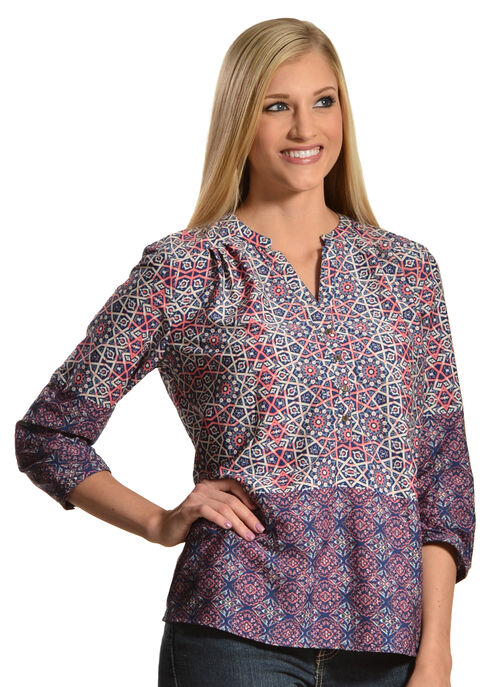 Tantrums Women's Roll Sleeve Printed Shirt, Print, hi-res