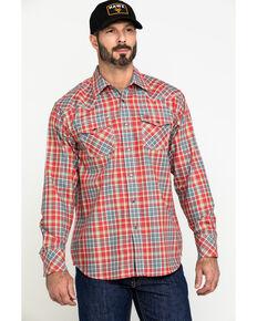 Ariat Men's FR Garrison Retro Plaid Long Sleeve Work Shirt , Chilli, hi-res