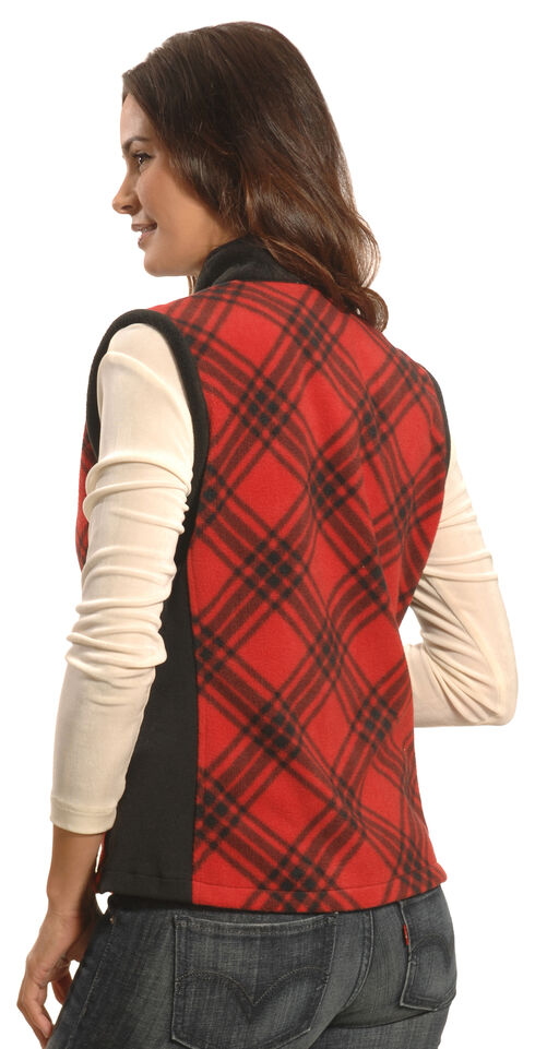 Jane Ashley Women's Red and Black Plaid Polar Fleece Vest , Red, hi-res