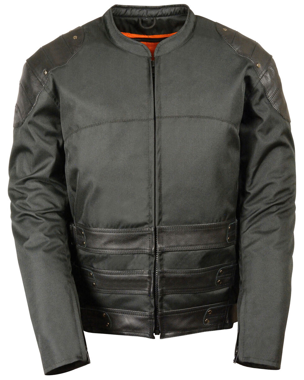 Milwaukee Leather Men's Assault Style Leather/Textile Racer Jacket - Big & Tall, Black, hi-res