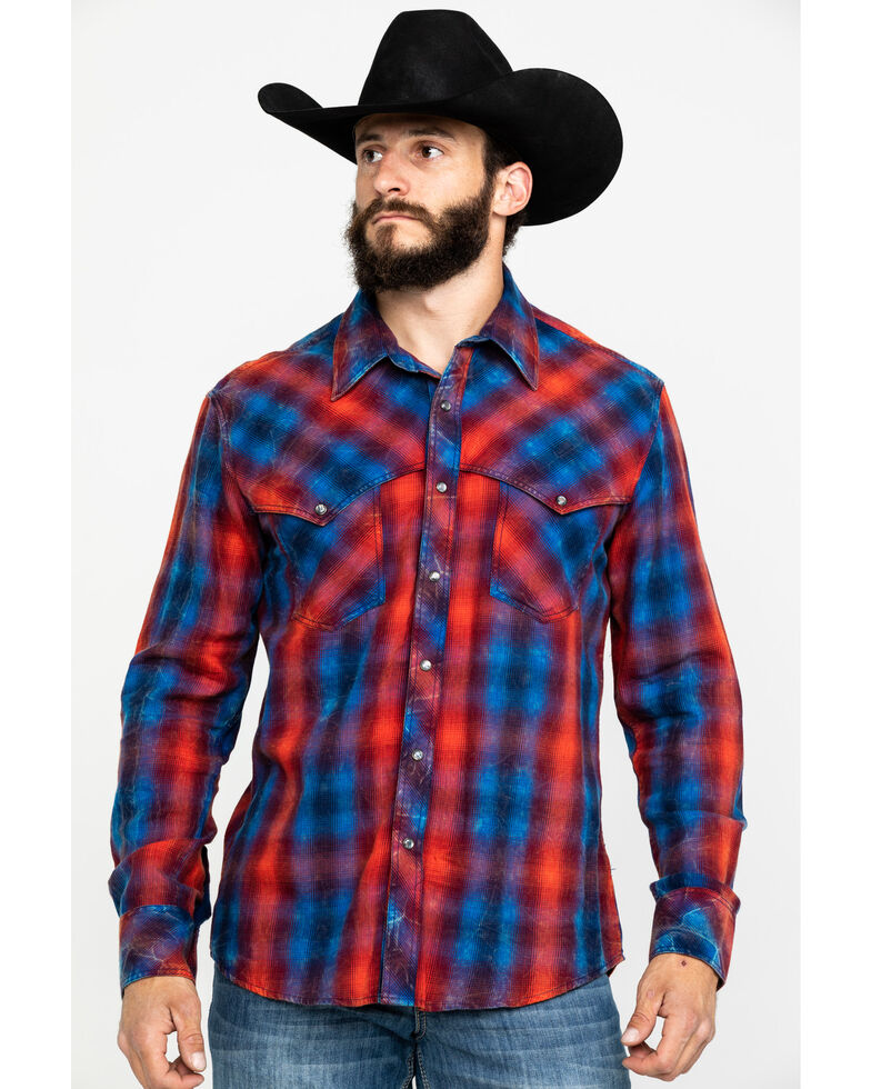 Rock & Roll Denim Men's Brushed Twill Plaid Long Sleeve Western Shirt , Red, hi-res