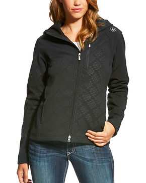 Ariat Women's Black Aztec Print Full Zip Soft Shell Jacket , Black, hi-res
